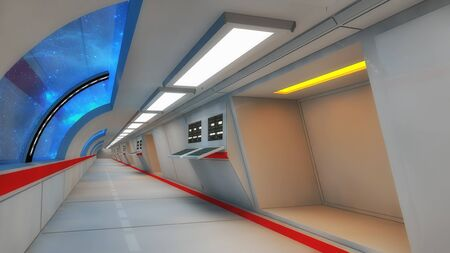 interior design: Futuristic hallway. Interior design concept
