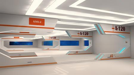 futuristic: Futuristic hallway. Interior design concept