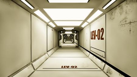 hallway: Futuristic hallway. Interior design concept