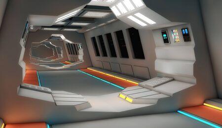 Futuristic hallway. Interior design concept