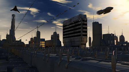 Futuristic spaceship UFO
