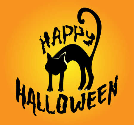superstitious: Halloween illustration with black cat silhouette on orange background