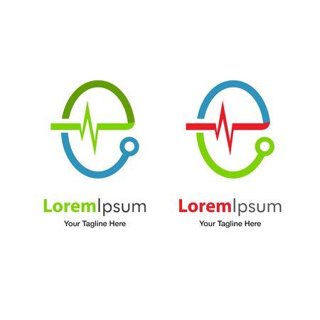 stethoscope: Health Care Logo Design Template (Vector)