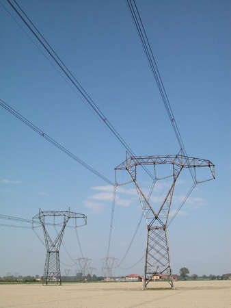 Electricity supply pylons in countryside Stock Photo - 4984726