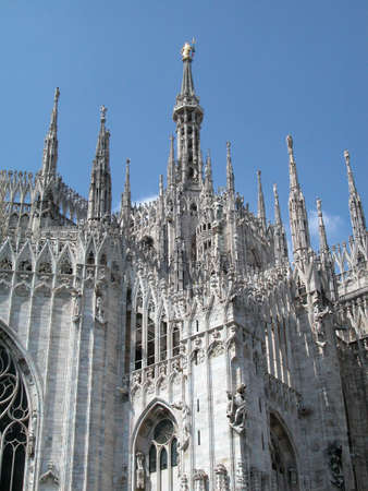 View of gothic dome of Milan, Italy