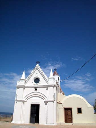 View of beautiful small sanctuary of Santa Maria, Capo Colonna, Crotone, Italy Stock Photo