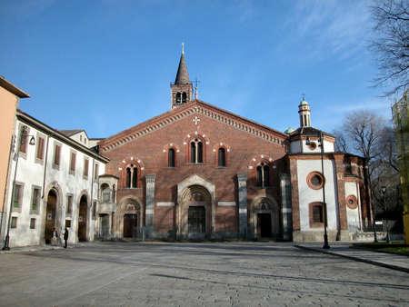 Front view of San Eustorgio church, Milano, Italy photo