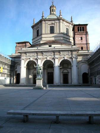 Front view of San Lorenzo church, Milano, Italy photo