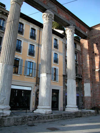 Perspective of San Lorenzo columns in Milan, Italy Stock Photo