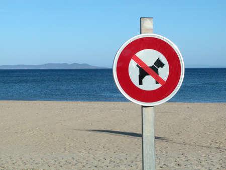 No dog sign on a beautiful empty beach