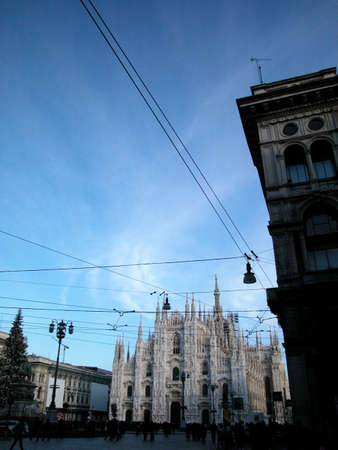 Dome cathedral and square during winter in Milan, Italy Stock Photo