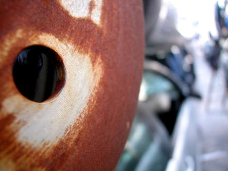 Closeup of metal rusted car parts, focus on detail