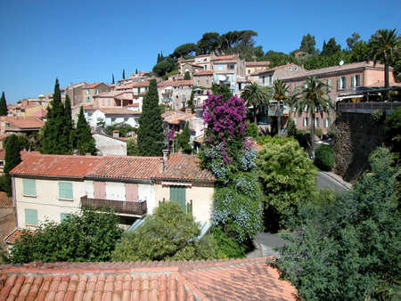 Panoramic view of houses and roofs of Bormes Les Mimosas village, France