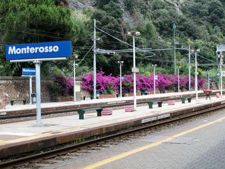 monterosso: View of empty Monterosso railway station, Cinque Terre, Italy Stock Photo