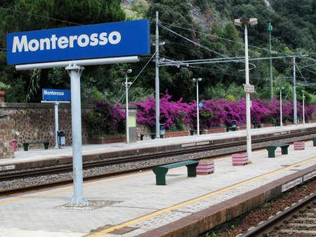 View of empty Monterosso railway station, Cinque Terre, Italy Stock Photo