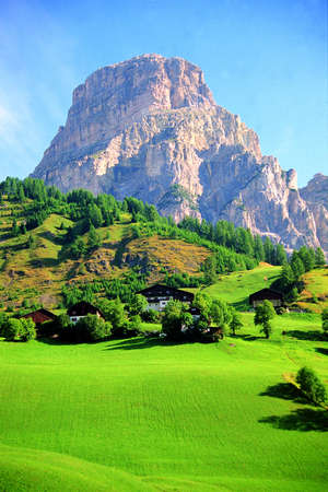 Summer landscape of Sassolungo, Dolomites, Italy