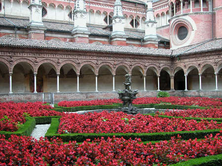 Cloister and flowers, Certosa di Pavia, Italy