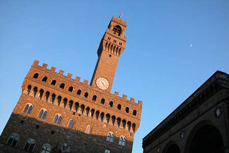 Sunset on Palazzo Vecchio in Florence, Italy photo