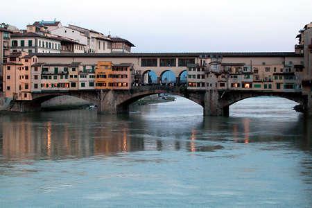 Beautiful Ponte Vecchio bridge at dust, Florence, Italy Stock Photo