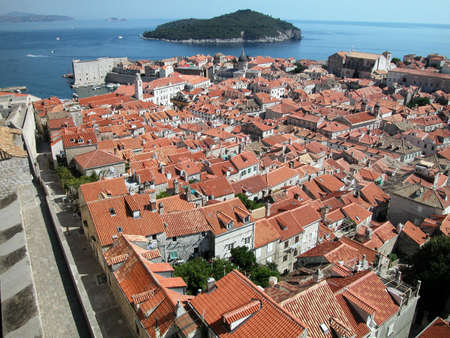 Dubrovnik fortified town view from the ancient wall, Croatia Stock Photo