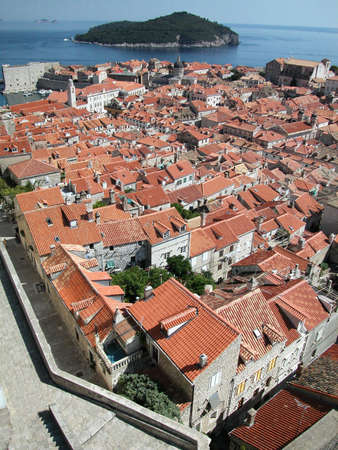 fortified: Dubrovnik fortified town view from the ancient wall, Croatia Stock Photo