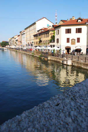 View of Naviglio grande, canal in Milan, Italy