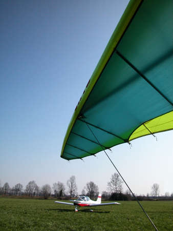 airplane ultralight: Ultralight airplane ready to fly in a sunny day