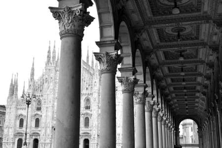View of ancient arcade and gothic dome of Milan, Italy
