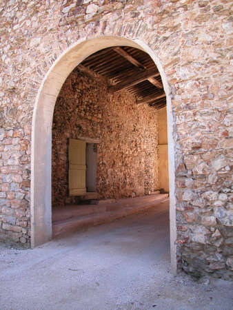 Stone rural country house entrance, south of France photo