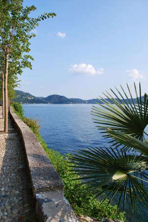 Romantic promenade by Orta lake, Italy Stock Photo