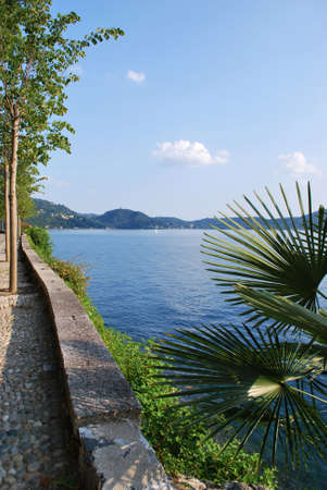 Romantic promenade by Orta lake, Italy Stock Photo