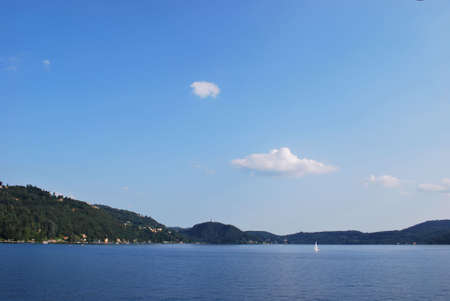 Panoramic view of Orta lake in a sunny day, Italy