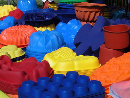 Coloured and differently shaped silicone baking pans Stock Photo