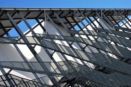 building external: External fire escapes on a modern building Stock Photo