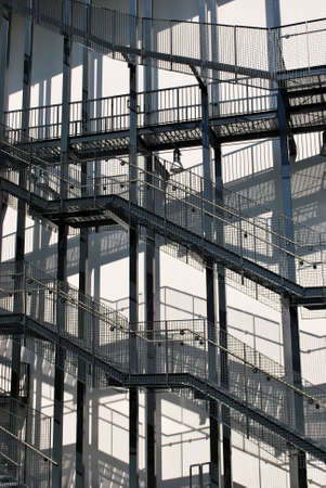External fire escapes on a modern building Stock Photo