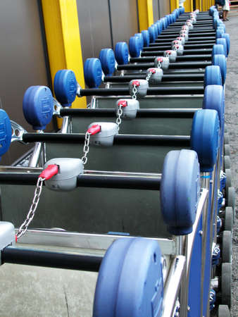Row of luggage carts photo
