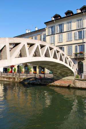View of Naviglio Grande, canal in Milan, Lombardy, Italy photo