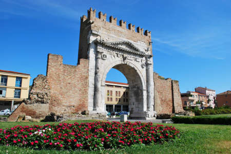 Augustus triumph arch, historical famous roman landmark, Rimini, Italy