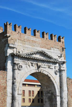 Augustus triumph arch detail, historical famous roman landmark, Rimini, Italy Stock Photo