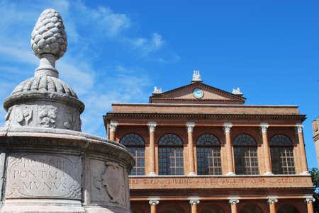 Cavour square, pinecone fountain and public theater, Rimini, Italy photo