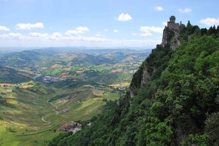 Guaita castle and landscape, San Marino republic, Italy Stock Photo