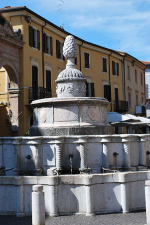cavour: Cavour square and pinecone fountain, Rimini, Italy
