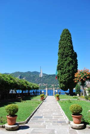 Public park in Orta San Giulio on Orta lake, Piedmont, Italy photo