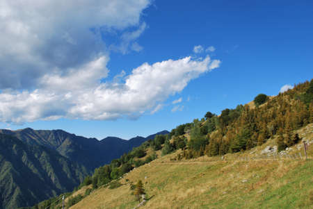 Panoramic view of Alps mountains in summer, Piedmont, Italy Stock Photo