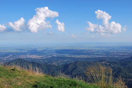 Breathtaking panoramic view on Po valley from Bielmonte, Piedmont, Italy, free copy space photo
