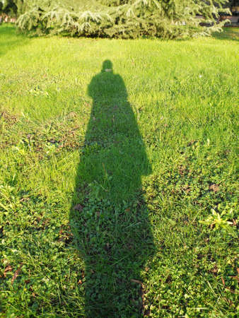 Womans silhouette shadow on the green grass