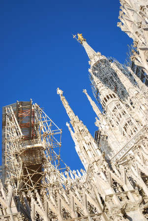 The Duomo, gothic cathedral of Milan, restoration work, Lombardy, Italy Stock Photo - 8622871