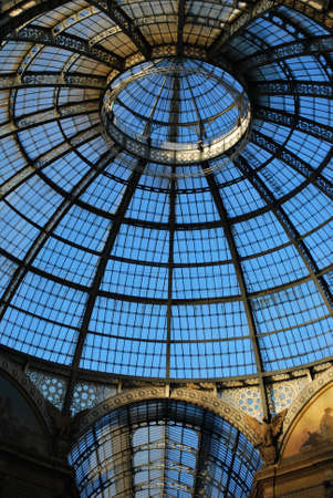 Vittorio Emanuele II Gallery, glass dome and ornaments, Milan, Italy photo