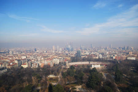 Panoramic aerial view of Milan from Branca tower, Lombardy, Italy