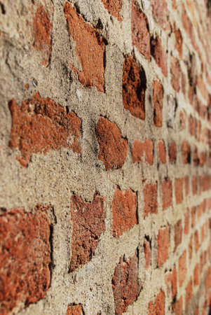 Red ancient brick wall texture perspective background, vertical Stock Photo - 9091879